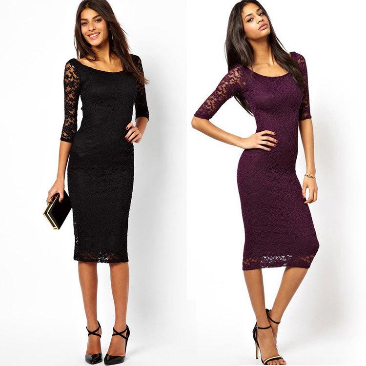 2016 top fashion women lace slim one-piece black dress , choice of 2 colors(China (Mainland))