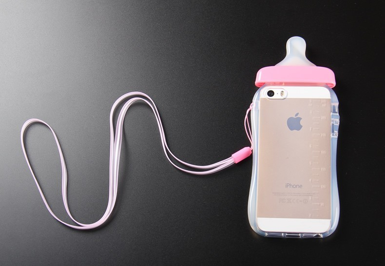 Transparent Cute Cartoon Baby Nipple Milk Bottle Mobile Phone Case For iPhone 6 6 Plus 5S SE TPU Phone Cover With Lanyard