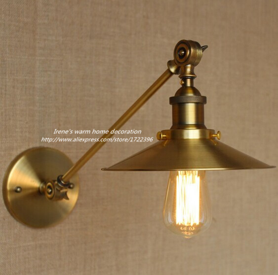 Vintage Industrial Loft Style Golden Wall Light,Loft Wall Lamp For Balcony Stairs Aisle Home Lights,E27*1Bulb Included 110V~240V<br><br>Aliexpress