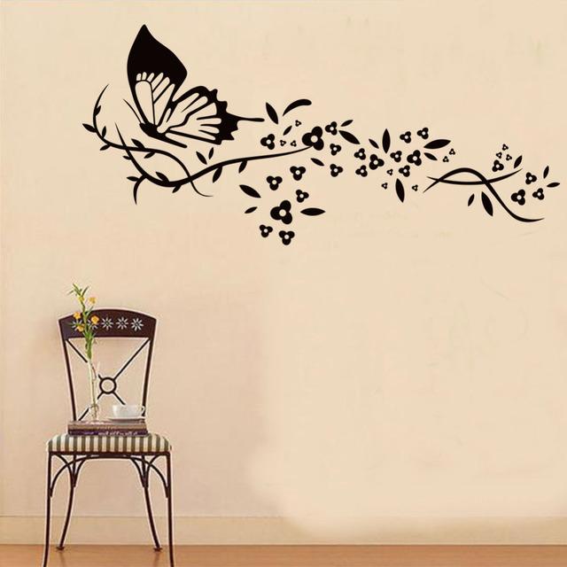 Черная бабочка лоза стены стикеры украшения дома на фреске искусство съемный X019 diy adesivo де parede