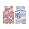 Moms Care Baby Striped Rompers 100 Cotton Sleeveless Wtih Pockets Baby Wear Summer Infant Jumpsuit Boys
