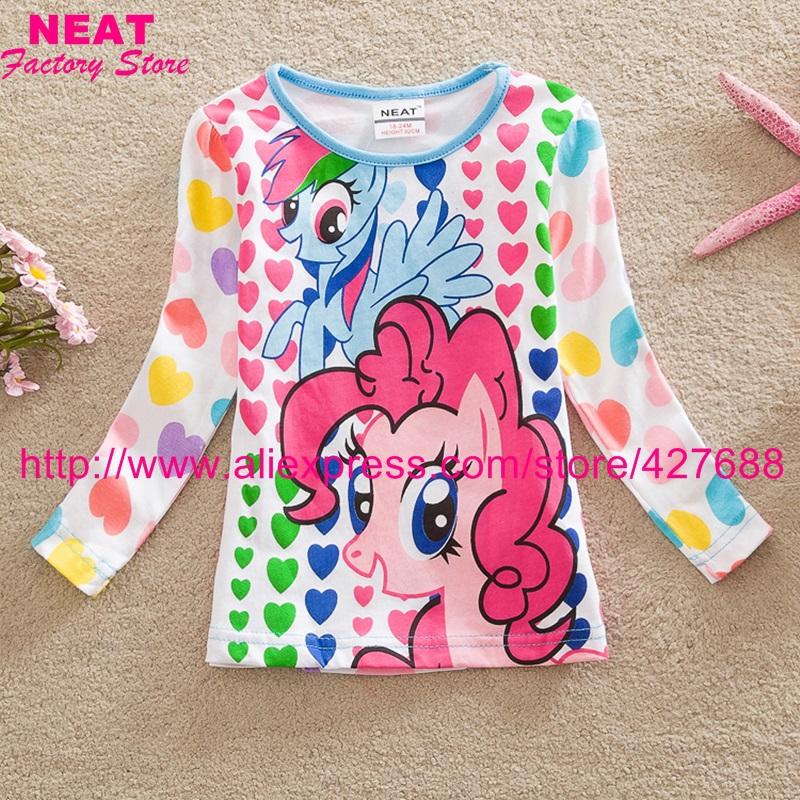 retail neat brand 2015 new kids t-shirt baby girls roupa sleeve cartoon t shirt children print clothing wear top nova LD6633 MIX