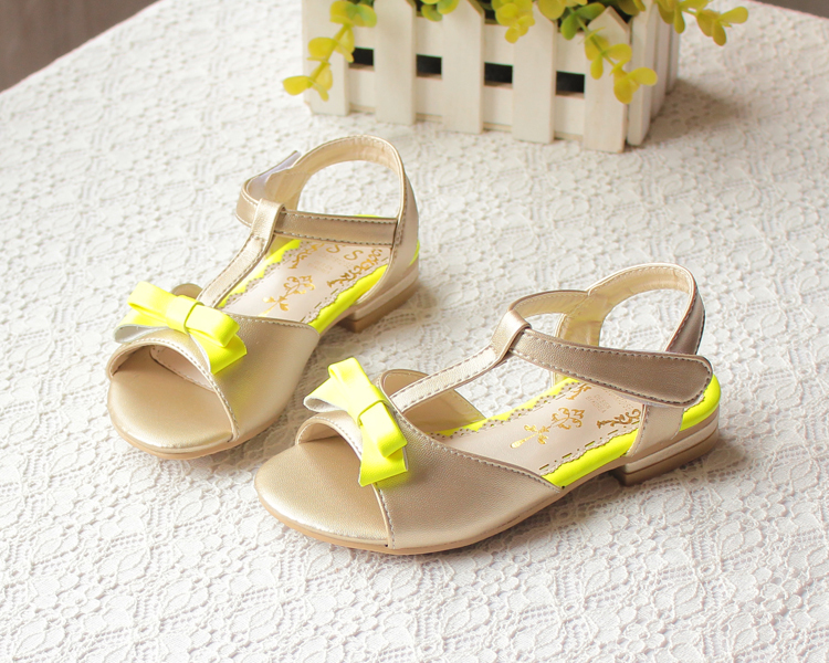 2015 high quality princess girls summer shoes children bow sandals kids cow muscle flat shoes yellow, pink <br><br>Aliexpress