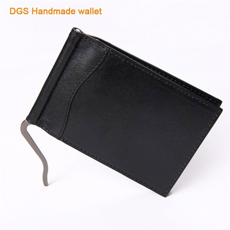 High Quality Vegetable Tanned leather Black Money Clips Wallet 6 Cards Fashion Wallet Clip Money Clip Credit Card Wallet N053(China (Mainland))