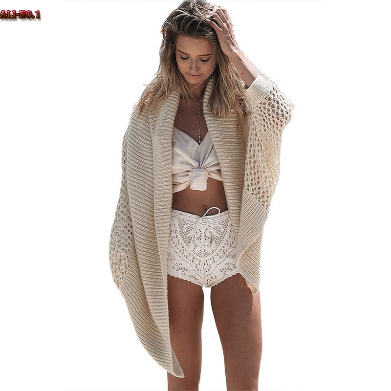 Kimono Cardigan Women Casual Batwing Sleeve Knitted Hollow Out Bikini Cover Up Beach Wear Plus Size Cardigan Pull Femme ZD15(China (Mainland))