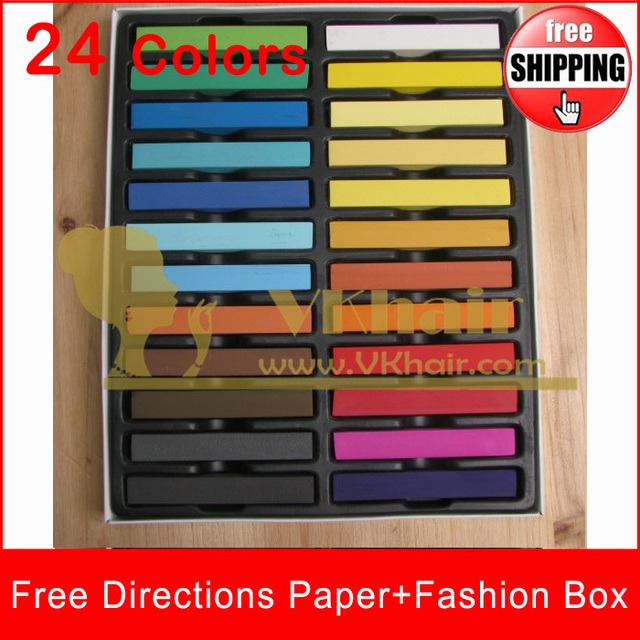 24 colors/set FREESHIPPING Top Quality hair chalk Temporary Hair Color Pastel  With Fashion Box  ,hair color chalk