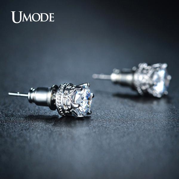 Umode классический корона образный серьги стержня 0.75ct высшего сорта CZ алмаз Brincos ...