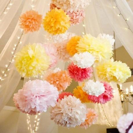 "2PCS DIY Multi Color 8"" 20cm Paper Flowers Kissing Ball Wedding Home Birthday Party&Wedding Car Decoration Tissue Paper Pom Poms(China (Mainland))"