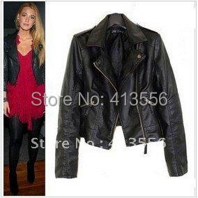 Women Winter Motorcycle Leather Jacket Coat S-XXL 5 Size Short Paragraph Diagonal Zipper outerwear coats 2014 New  ow625
