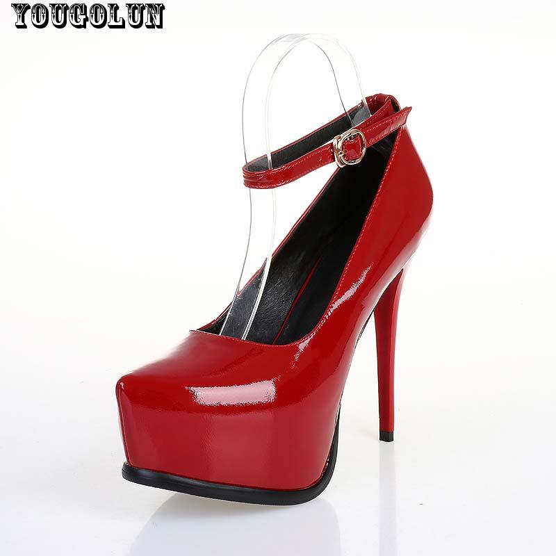 Sexy Ankle Strap High Heels(13cm)Women Patent Leather Thin Heel Pumps Elegant Lady Party Shoe Woman Black Bordeaux Platform Shoe