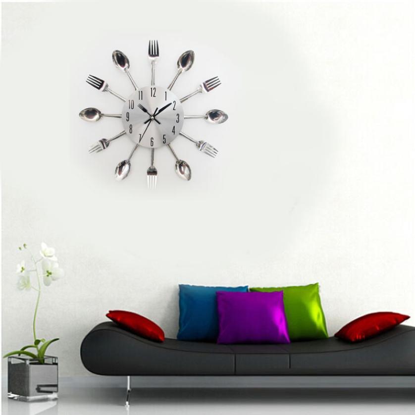 New Design Happy Gifts Fashion Creative Modern Design Sliver Cutlery Kitchen Utensil Wall Clock Spoon Fork Clock(China (Mainland))