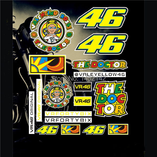 one piece motocross sticker for VR 46 valentino rossi stickers MOTO GP motorcycle ATV decals helmets car sticker(China (Mainland))