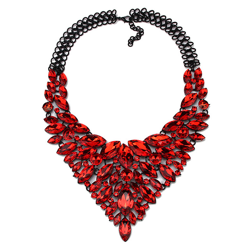 2015 New Arrival Women Gems Maxi Flowers Necklace Accessories Vintage Crystal Collar Statement Necklaces Pendants Jewelry