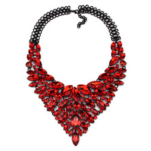 2015 New Arrival Women Gems Maxi Flowers Necklace Accessories Vintage Crystal Collar Statement Necklaces & Pendants Jewelry 5811
