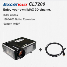 HOT Excelvan CL720D Projector 3000 Lumens HD Home Theater 720P Support 1080P Led Projector HDMI / VGA/ USB/ AV /DTV Projector