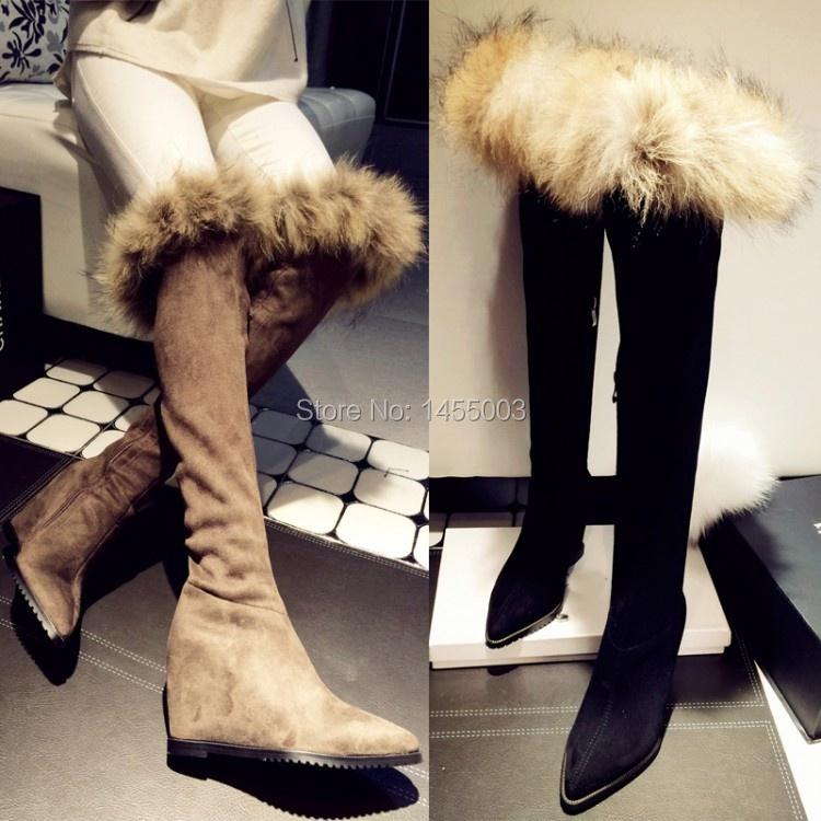 cheap sale autumn warm suede thigh high fashion boots fur