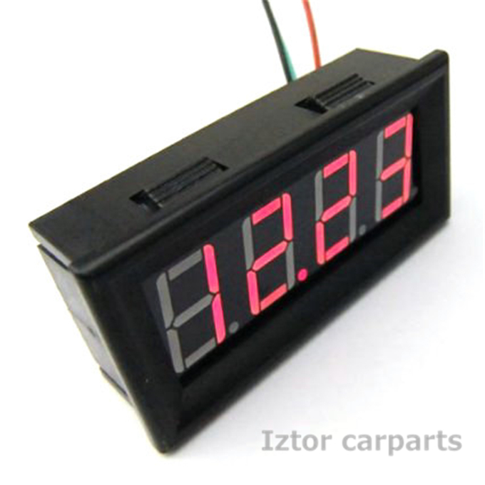 "RED 0.56"" Car Digital Temp Clock Volt Meter 3in1 LED Auto Gauge Thermometer With 18B20 Probe(China (Mainland))"