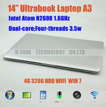 Russia Only!EMS Free Ultra Slim Ultrabook 14.1 Inch Laptop Notebook Intel Atom D2500 Dual Core 1.86GHz DDR3 2GB RAM 320GB HDD