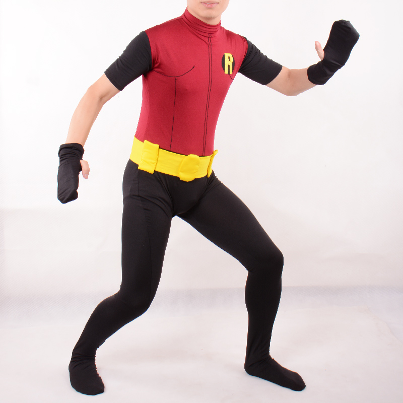 kids robin costume boys superhero cosplay Children Full bodysuit zentai with cape party halloween costumes for kids custom