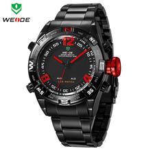 Reloj para hombre WEIDE reloj de acero llena de alarma fecha día LED deporte relojes hombres de cuarzo resistente al agua reloj Relogio Masculino