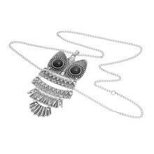 1PC Fashion Jewelry Retro Owl Pendant Necklace Women Gift Silver Tone 63.4cm
