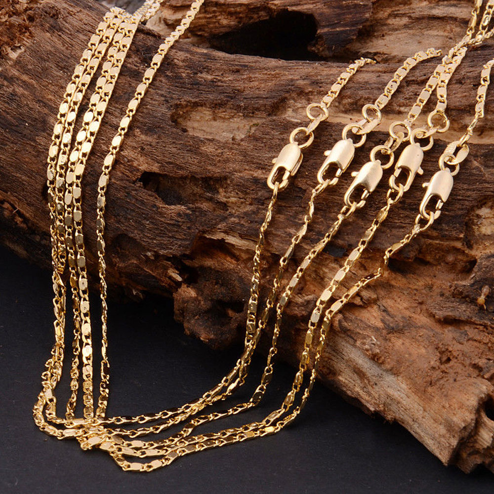 22Inch 18K Solid Yellow Gold Filled Unisex Charm Jewellery Necklace Chain Nice Gift for Men Women(China (Mainland))