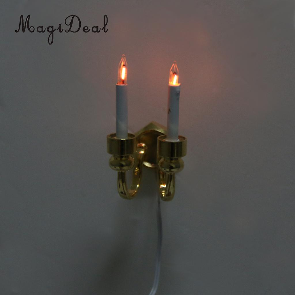 1/12 Scale Dollhouse Miniature Double-Headed Light Wall Lamp With Electric Wire for Dolls House Bedroom Kitchen Furniture Decor