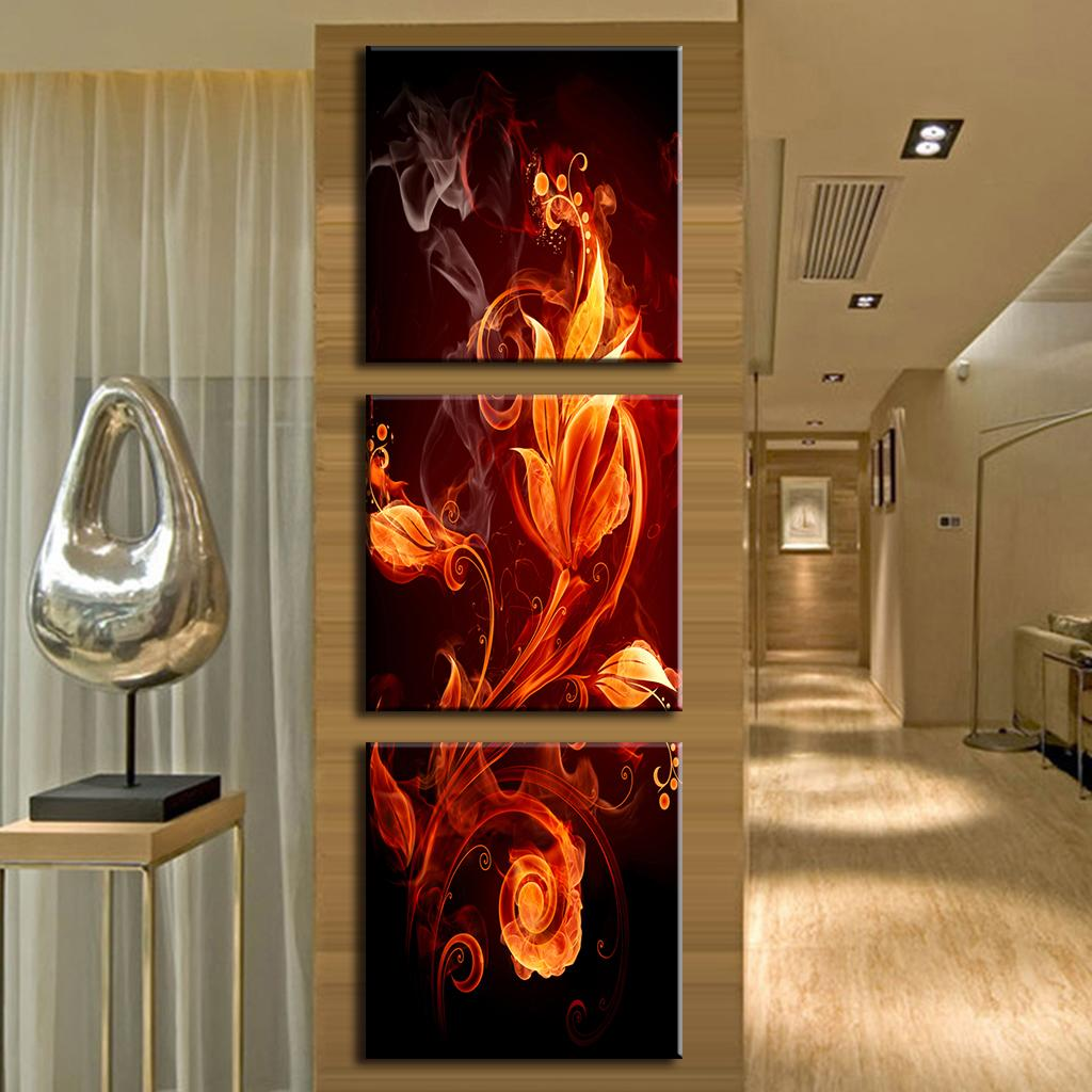 3 Pcs/Set Hot Sale Framed Painting Abstract Canvas Wall Art Modern Wall Paintings Fire Floral Pattern In Black Free Shipping(China (Mainland))