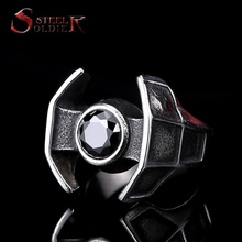 Steel soldier hot sale film style star wars men fashion stainless steel ring unique men Darth Vader's spacecraft jewelry (China (Mainland))