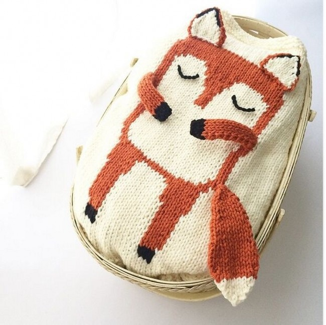 EMS/DHL Free Shipping HOT! 2016 Wholesale Small Fox Ins Sweater Cotton all-match stereo childrens sweater<br><br>Aliexpress