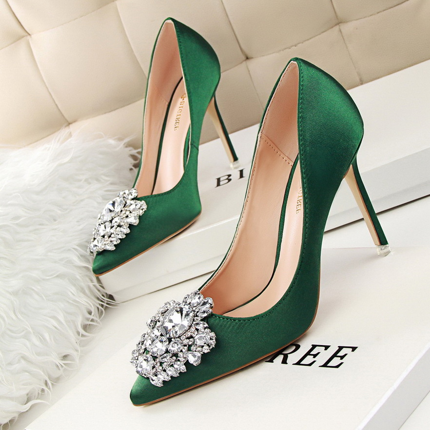 New Spring Summer Women Pumps Elegant Buckle Rhinestone Silk Satin High Heels Shoes Heeled Sexy Thin Pointed Single Shoes G516(China (Mainland))