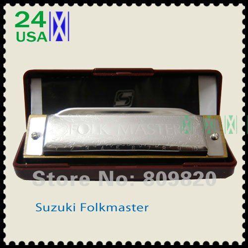 New silver Suzuki 1072 Folk Master Harmonica 10 Hole Blues Key of C do Diatonic A Bb D E F G(China (Mainland))