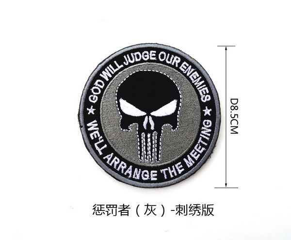 GRAY The Punisher Embroidery 3D Badge Comic Hero Patch Morale Military Armband Velcro Backside Skull Tactical Patches(China (Mainland))