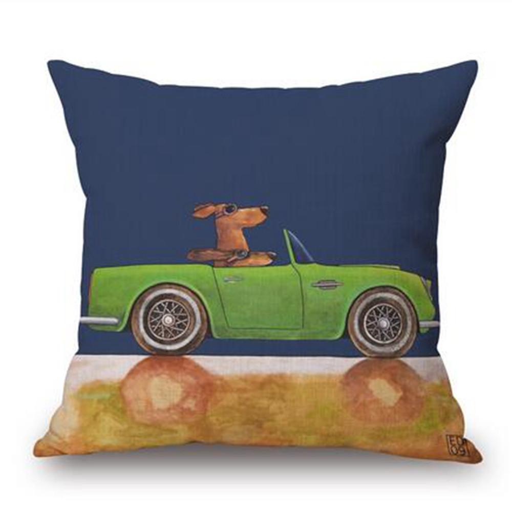 Nordic cartoon pillow vintage linen cotton cushions cushion pillowcases bus rental decorative ...