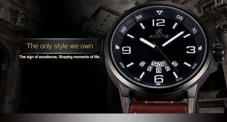 2016 Новое Прибытие Luxury Brand Кожа Часы Мужчины Световой Часы Дата Календарь Движение Кварца Япония Мужские часы