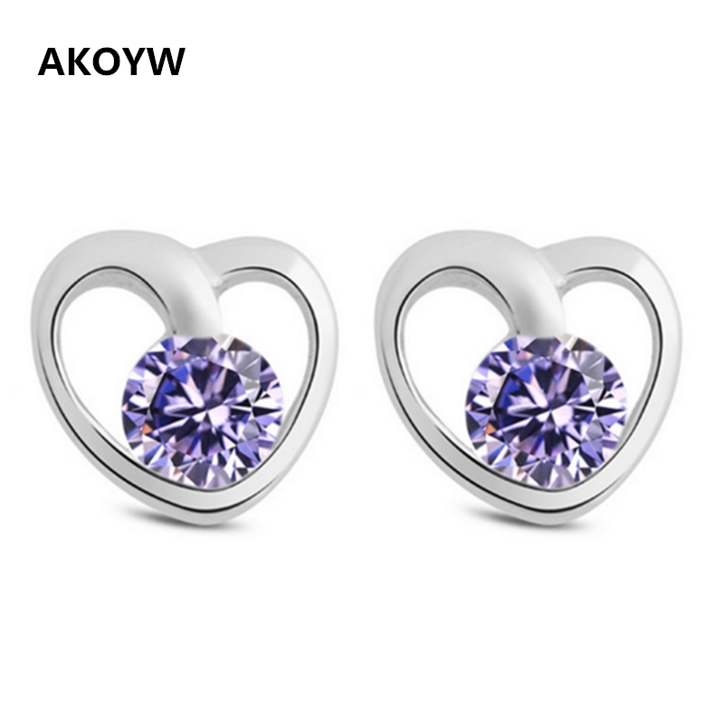 Silver plated earrings heart-shaped hollow crystal violet white Miss Gao Pinzhi retro fashion jewelry gift points(China (Mainland))