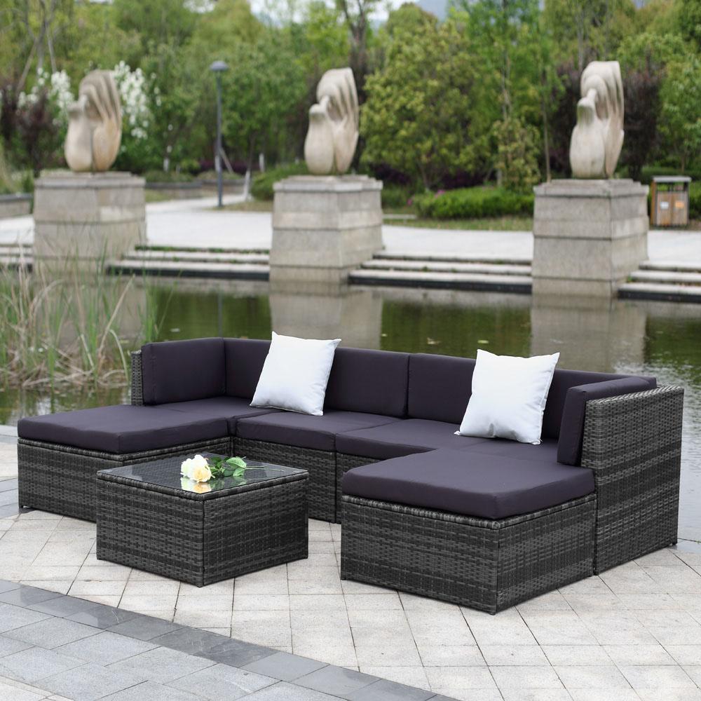 iKayaa US UK FR Stock Patio Garden Furniture Sofa Set Ottoman Corner Couch Rattan Wicker Furniture salon de jardin exterieur(China (Mainland))
