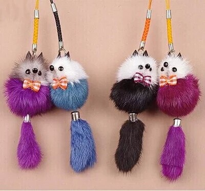 Mink fur fur Mobile phone hang act the role ofing The key pendant lovely small adorn article(China (Mainland))