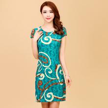 L-5XL summer style 2017 women dress Silk printed plus size vestido feminino womens clothing loose casual dresses(China)
