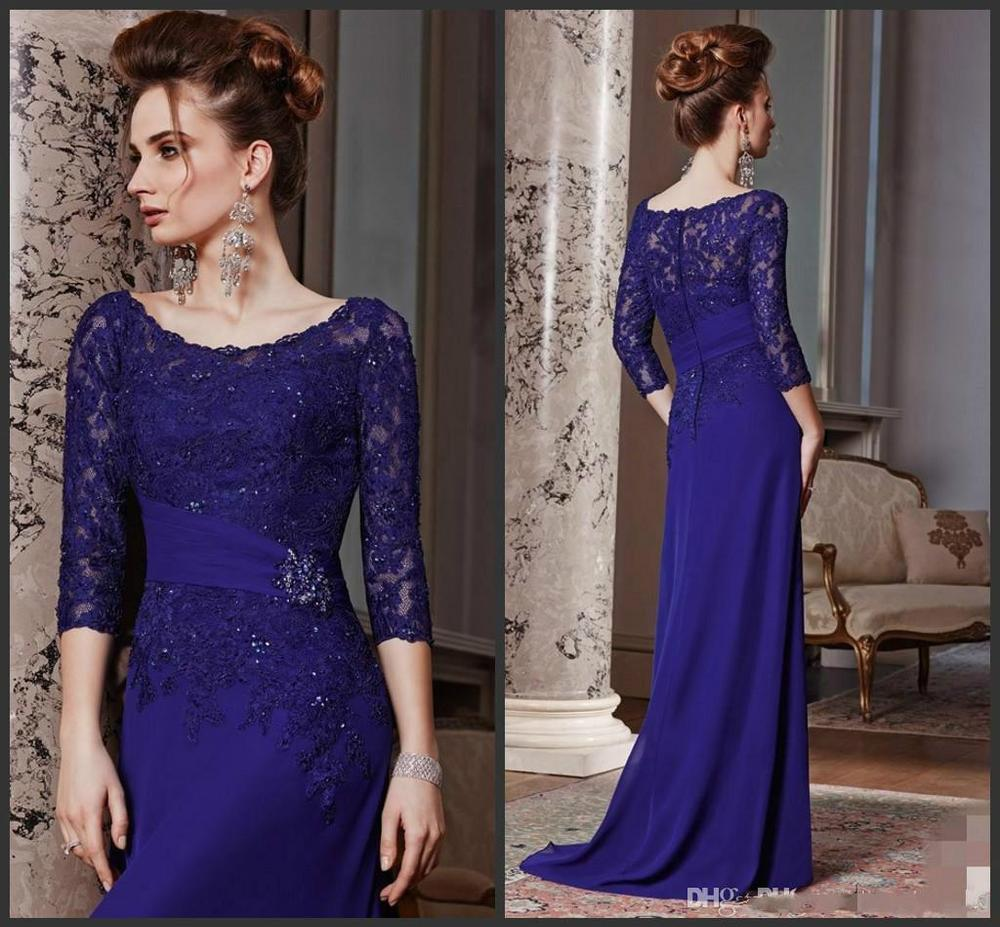 Sexy Purple Chiffon Lace Evening Dresses Long Sleeves Applique Line Scoop Prom Gowns Floor length Mot - Beautiful kay beautiful gloves store