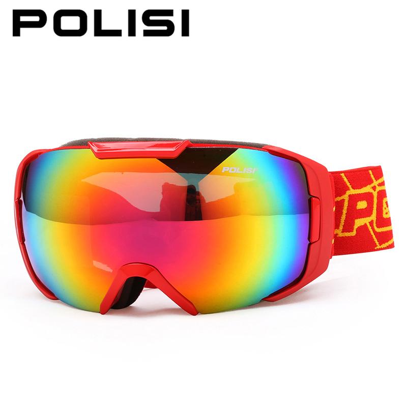 POLISI Professional Ski Snow Goggle Double Layer Large Spherical Anti-Fog Lens Snowboard Glasses Snowmobile Skate Skiing Eyewear
