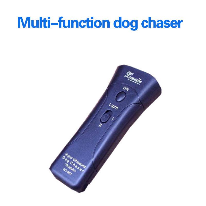 Ultrasonic Dog Chaser Aggressive Attack Repeller Trainer LED Flashlight Useful(China (Mainland))