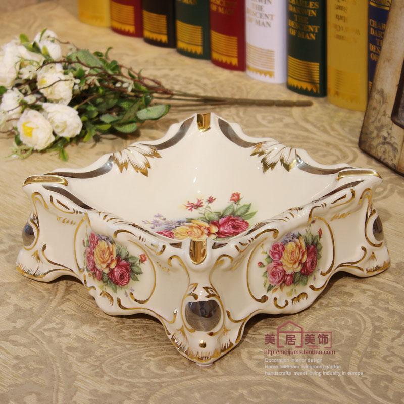 Fashion luxury ivory vintage ashtray ceramic ashtray gold luxury home decoration(China (Mainland))