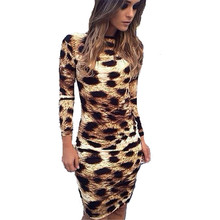 2016 New European Long Sleeve Leopard Print Backless Knee-length Dress Women Spring Summer Sexy Sheath Plus Size Vestidos ZS882