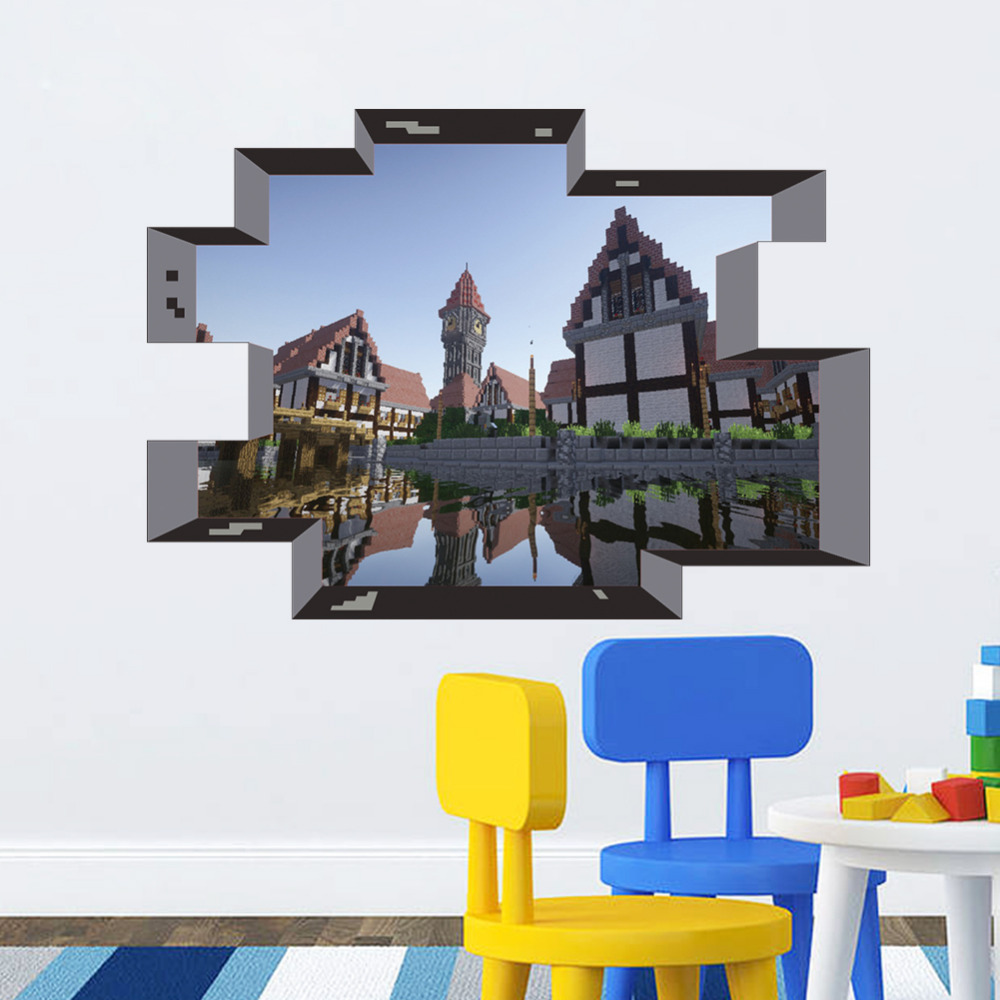 Popular classical game 3d window landscape wall stickers for 3d home decoration games