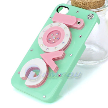 Green Lovely Cute Elegant Vogue 3D LOVE Mirror Case For 4 4S Bling Diamonds Case Cover for Apple iPhone4 4G 4S Free Shipping