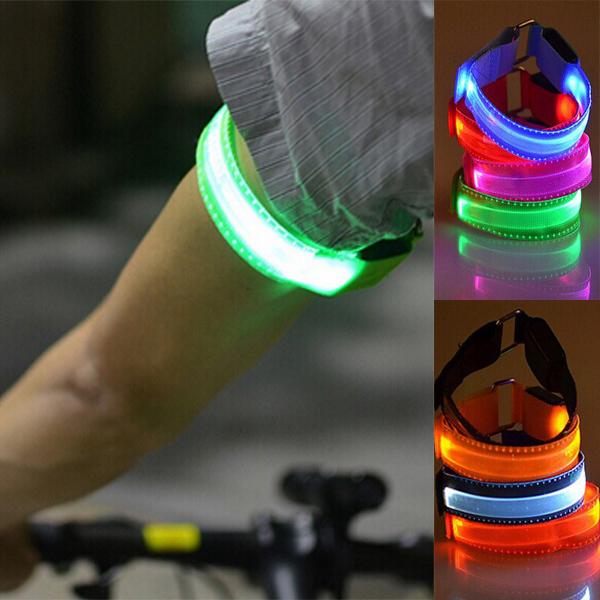 New 5x LED Armband Safety Reflective Belt Strap Snap Wrap Arm Band Fashing(China (Mainland))