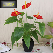 Artificial flower small potted plant silk suit large potted anthurium office decoration bonsai wholesale AD0244(China (Mainland))