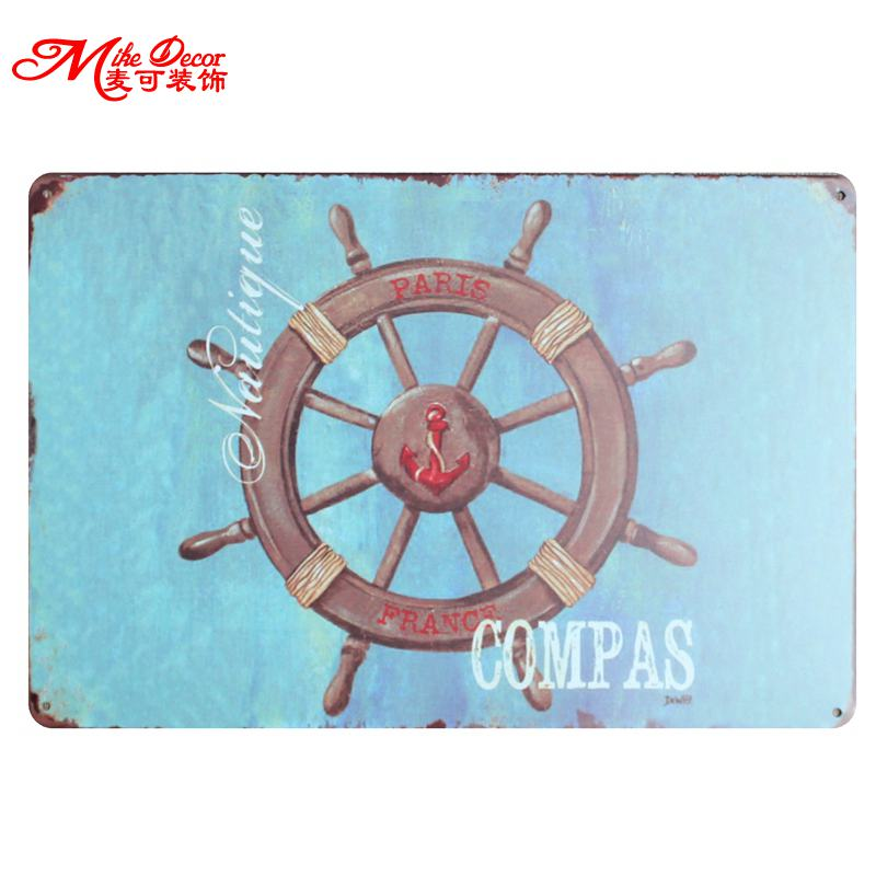 [ Mike86 ] Rudder COMPAS Vintage Tin Sign Home Hotel Decor for Pub Wall Plaque Craft 20*30 CM AA-766(China (Mainland))