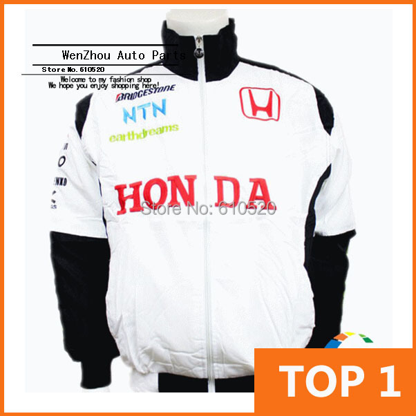 2014 New ! Wholesale Profession Racing Wear Vehicle Maintenance And Repair Work Clothes Winter Long Sleeve White Color For HONDA(China (Mainland))